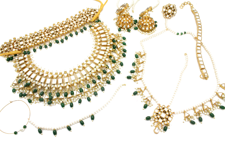 ff4aab78b Gold Silver Kaachi Kundan 'AMBER' Statement Bridal Jewellery Set ...