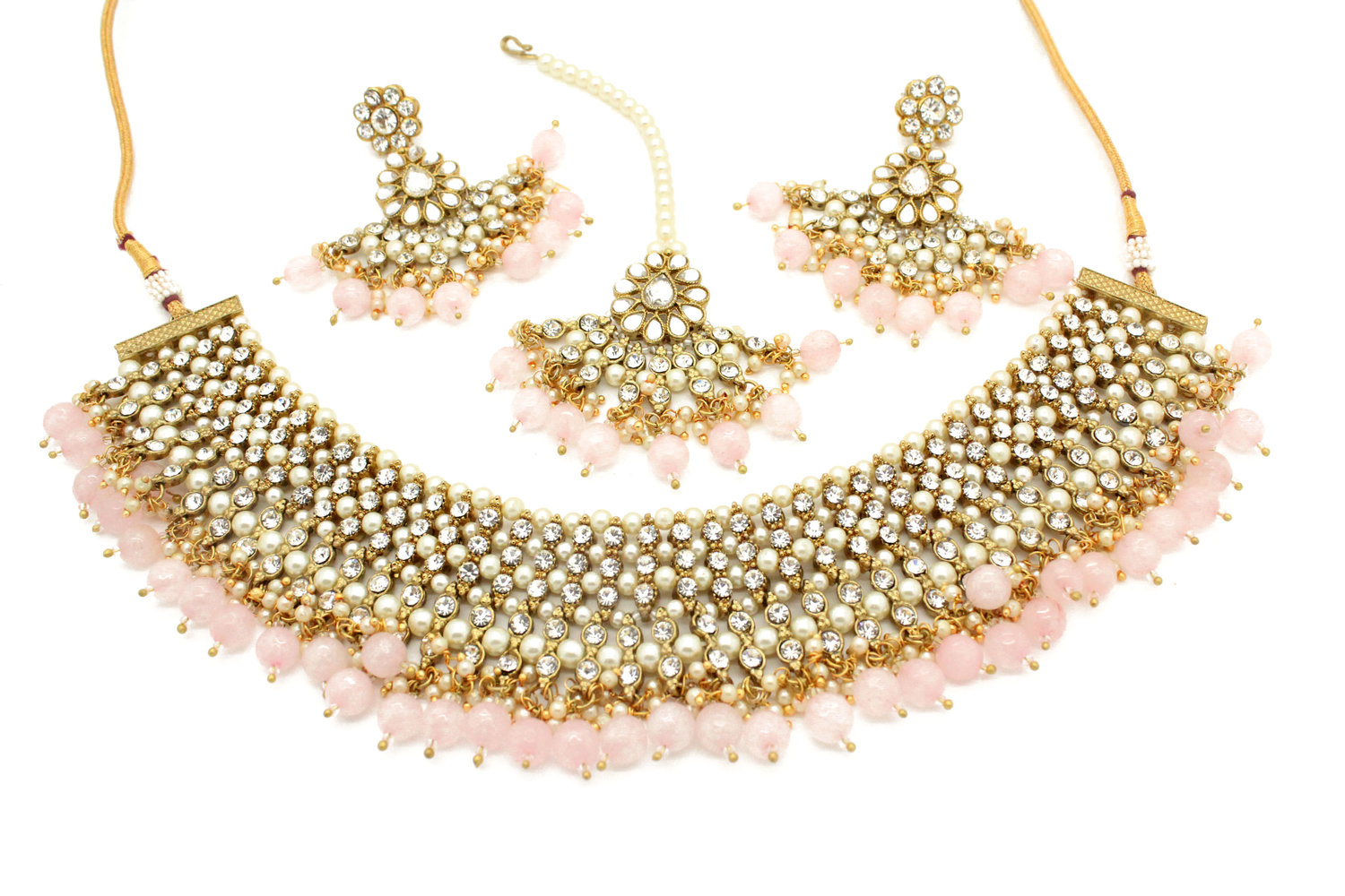 e3b6865756534 Baby Pink Gold Silver Pearl 'DULARI' Necklace, Tikka & Earring Set —  Glimour Jewellery