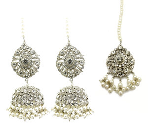 0ff1e6d89 Full Silver Kundan Stone Jhumki Earring Tikka Set Indian Asian Pakistani Jewellery  Jewelry
