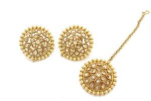 44d843b21 Antique Gold Indian Bollywood Kundan Simple Stud Earrings Tikka set  Bridesmaids Flower Girls Indian Jewellery Jewelry