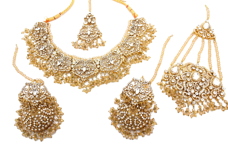 Champagne Gold Silver Ferina Necklace Jewellery Set Glimour