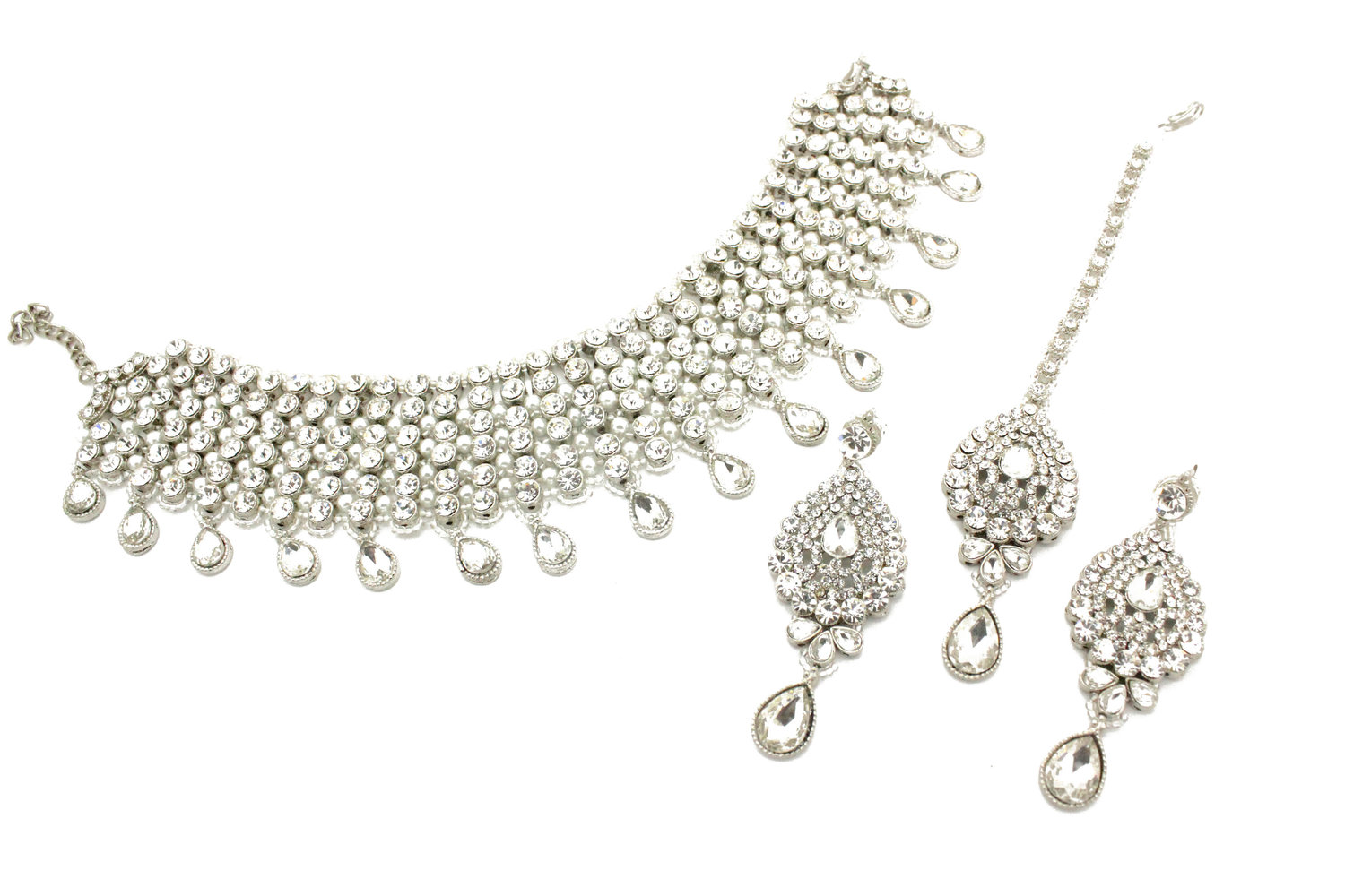af14a0d721958 Full Silver Kundan 'MIA' Choker Necklace Jewellery Set — Glimour Jewellery
