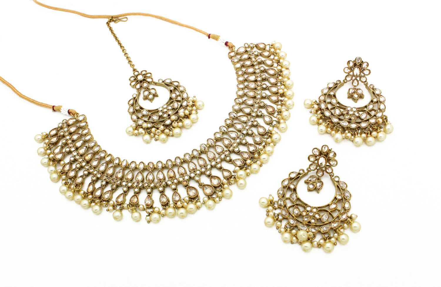 da317cc02 Antique Gold 'ARUSHI' Necklace Jewellery Set with Tikka Earrings — Glimour  Jewellery