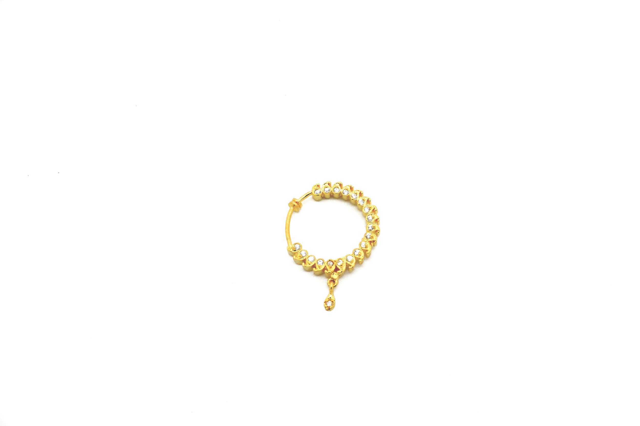 Gold Silver Diamante Stone Nose Piece Nose Ring Nath Glimour