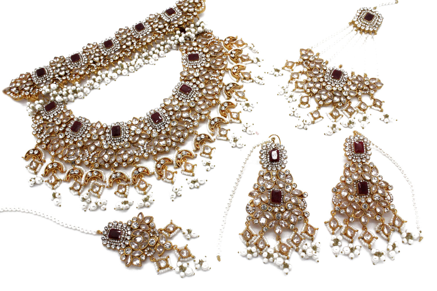 Gold Silver Maroon Pearl Bridal Necklace Jewellery Set — Glimour Jewellery