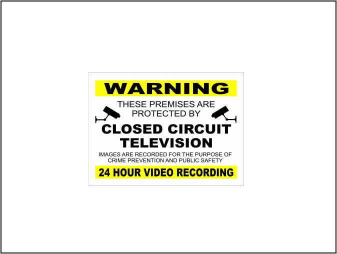 Yellow & Black Closed Circuit Television (CCTV) — H & S Signs