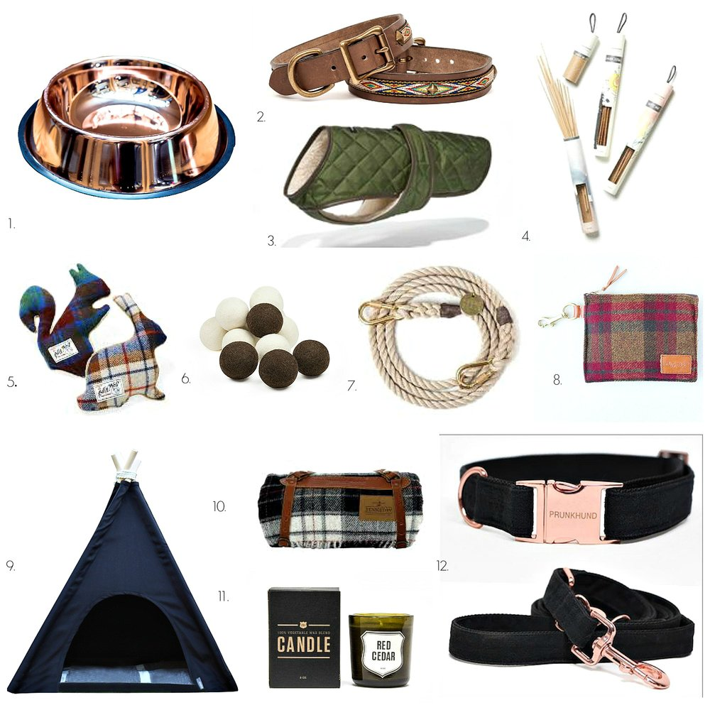 1. CU copper water bowl 2. Gitli Goods Smokey Mountain collar 3. Wagwear quilted shearling vest 4. Juniper Ridge campfire incense 5. Billy Wolf plaid plus toys 6. Wool balls 7. Found My Animal jute rope adjustable lead 8. Billy Wolf Arlo accessory pouch 9. Elanor tee pee with wool bed roll 10. Pendleton Moto Robe with leather carrier 11. Izola candle 12. Prunkhund Moon collar and lead set