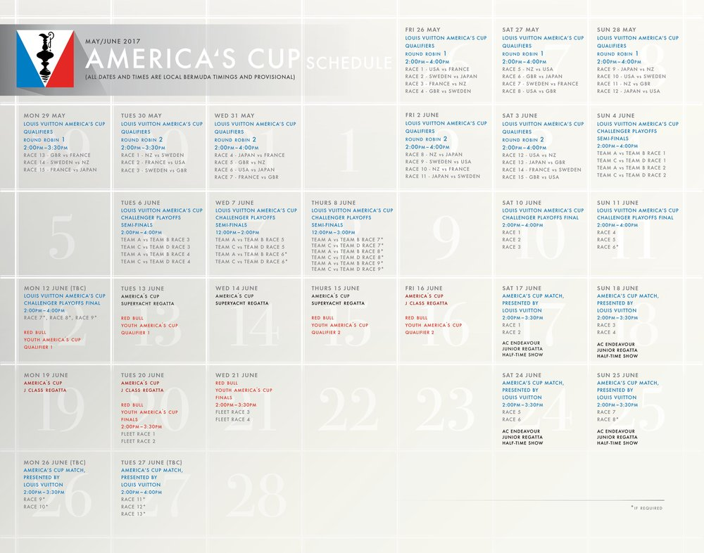 Download the 35th America's Cup Schedule