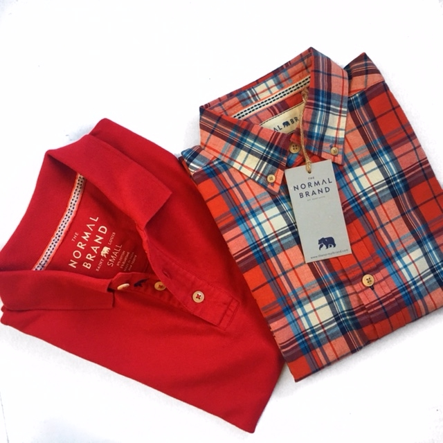 Normal Brand plaid shirt................$29    Normal Brand solid red polo.........$27