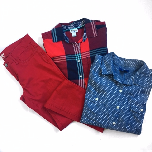 Normal Brand plaid shirt........$29      Normal Brand t-shirt ..............$16      Men's red joggers...................$29.99