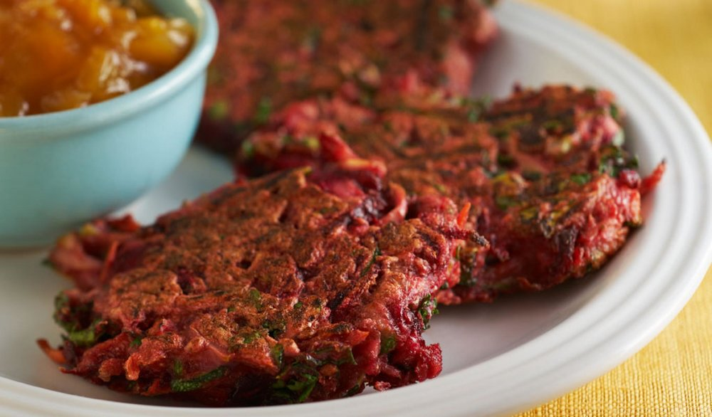Purple Vegetable Pancakes Kids will love the color of these savory pancakes