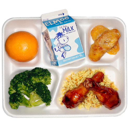 "Photo Credit: The New York Times. ""A meal from the cafeteria at P.S. 89 in Manhattan does not contain processed food."""