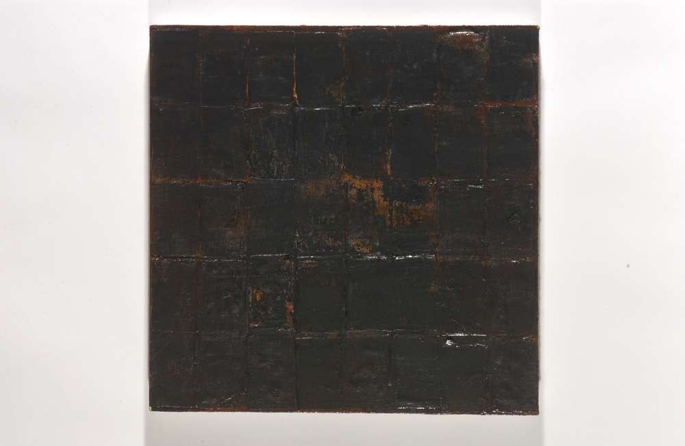 "of rust and Rilke   oil, encaustic & debris on panel, 24x24"" 2004  $750"