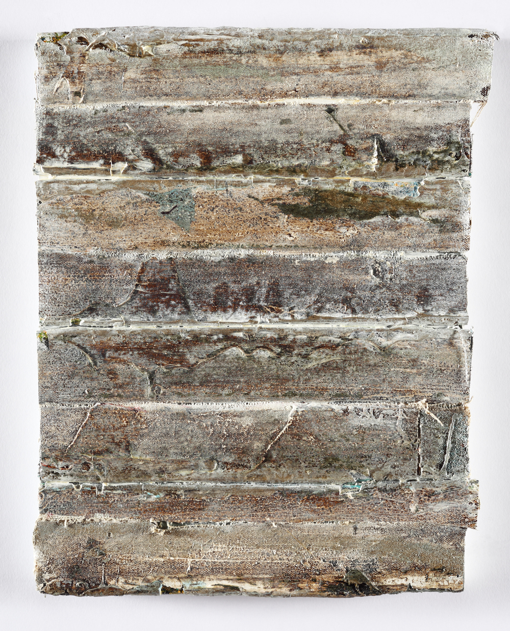 "edges, (pavement)   oil on salvaged canvas mounted on panel, 9x12"", 2012  collection of Martina Windels"