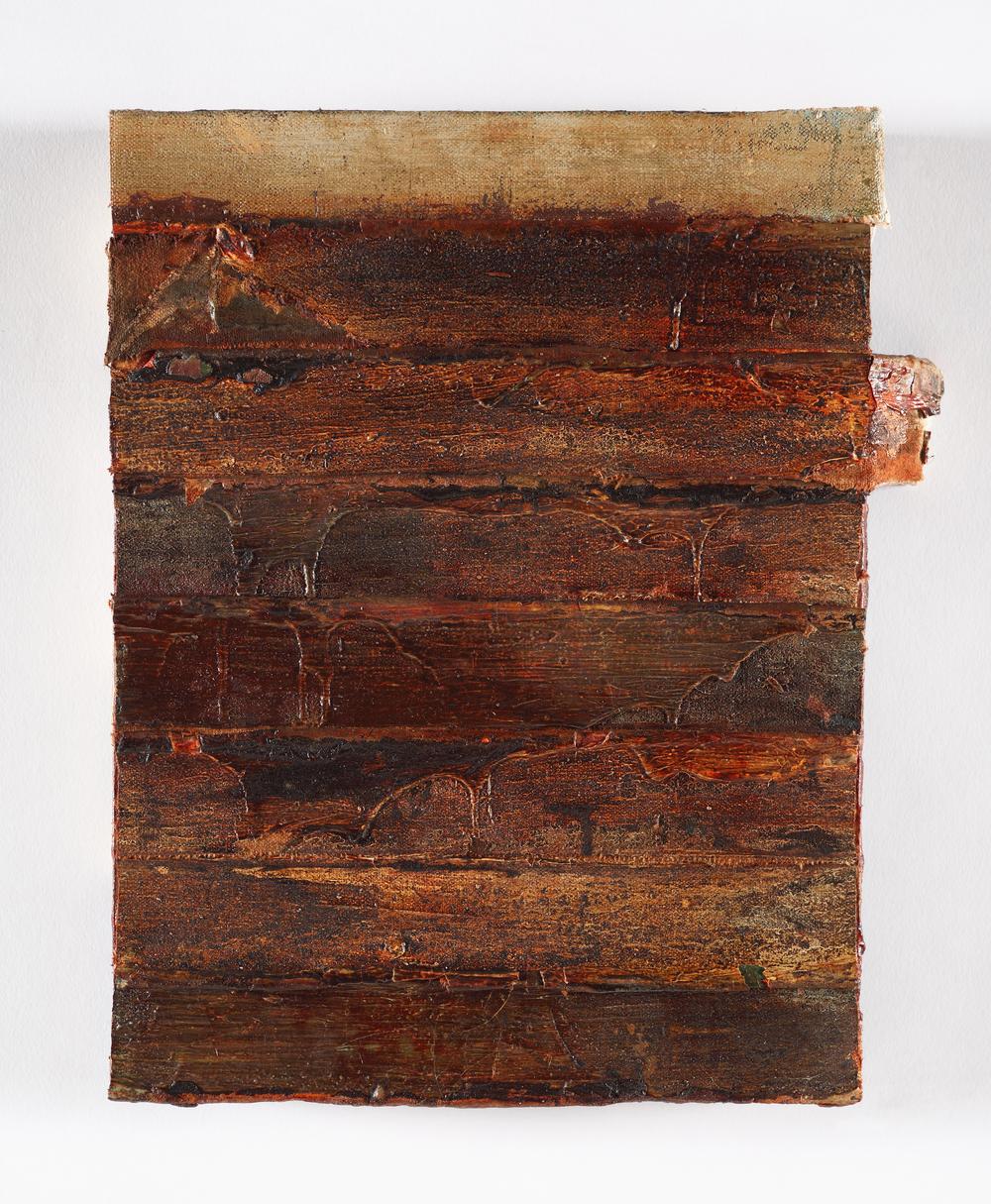 """edges, (rustlines)   oil on salvaged canvas mounted on panel, 9x12"""", 2013"""
