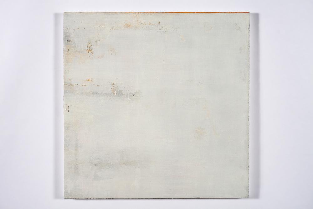 "faint murmur, (sky splits)   oil on salvaged canvas mounted on panel 24x24""  2008-2012"