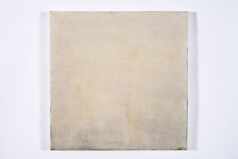 "what remains without remaining   oil, dry pigment on salvaged canvas mounted on panel, 20.5x20.5"", 2008-2013"
