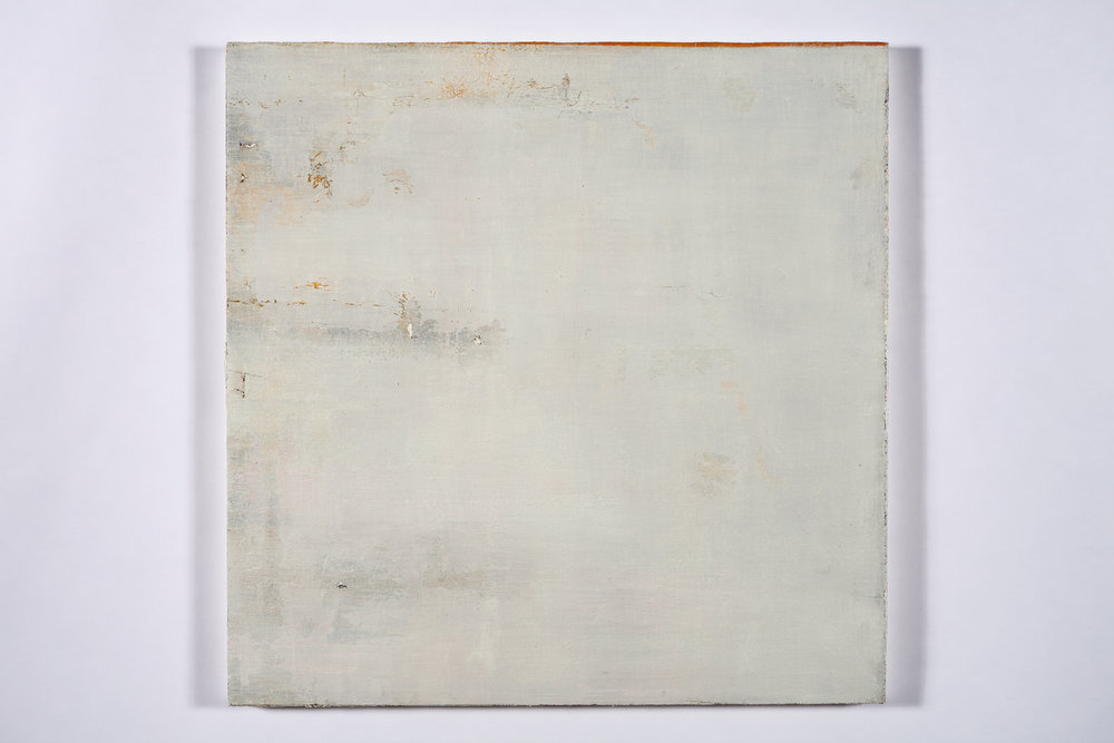 "faint murmur, (sky splits)   oil on salvaged canvas mounted on panel 24x24""  2008-2012  $750"