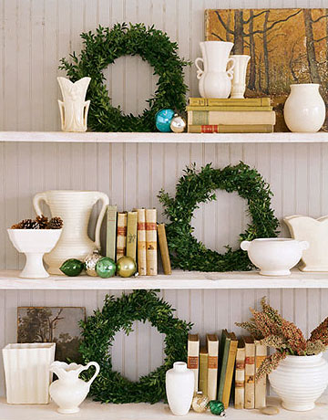 Wreaths on shelves country living