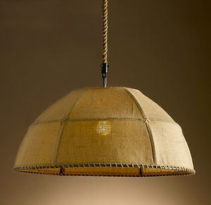 Burlap dome chandelier