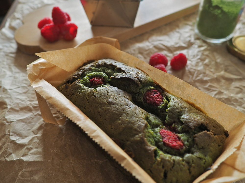 matcha and raspberry cake