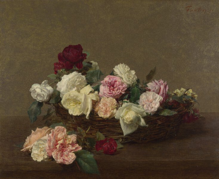 Ignace-Henri-Théodore Fantin-Latour,A Basket of Roses,1890