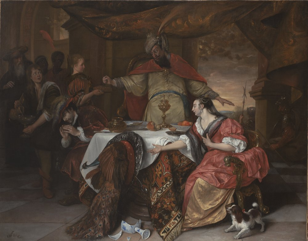 Jan Steen (1626-1679),  The Wrath of Ahasuerus,  about 1668-70. Oil on canvas, 129.6 x 166.3 cm. The Barber Institute of Fine Arts, University of Birmingham (No. 39.22). Photo: Ruth Bubb.