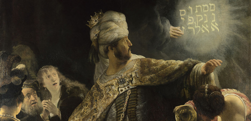 Rembrandt, 'Belshazzar's Feast' (detail), about 1636-8. Bought with a contribution from Art Fund, 1964 © The National Gallery, London