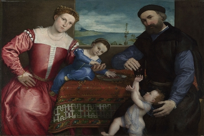Lorenzo Lotto,  Portrait of Giovanni della Volta with his Wife and Children , completed 1547. Bequeathed by Miss Sarah Solly, 1879 © The National Gallery, London