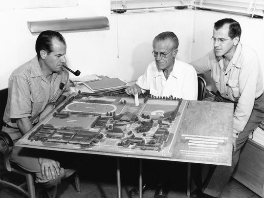 Original architect, Emerson Stewart Williams.(Center)