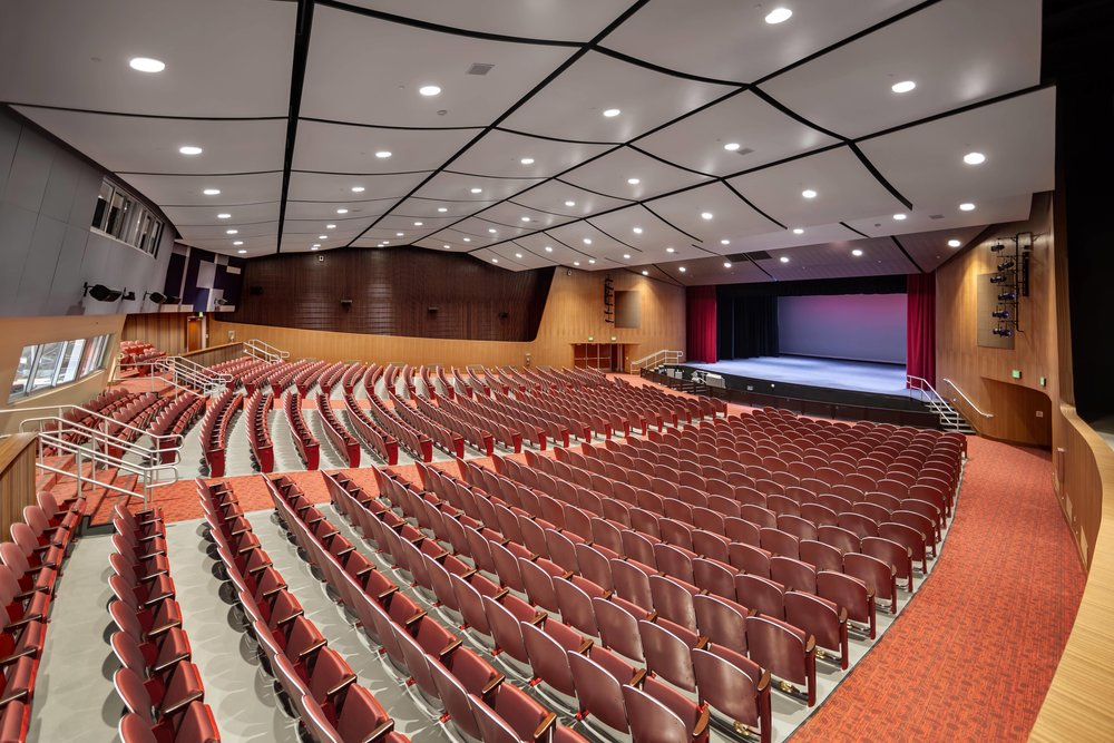 The new auditorium maintains the original modernist design while providing enhanced lighting and technology.