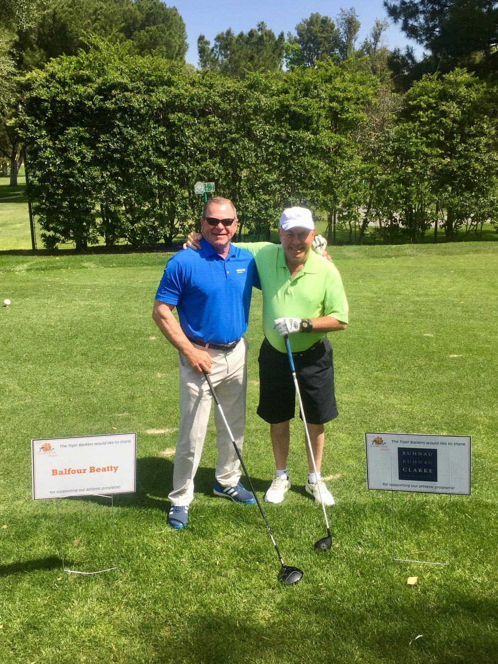 Paul Gill (Ruhnau Clarke) and Layne Arthur (Balfour Beatty) at the 2017 Tiger Backers Golf Tournament