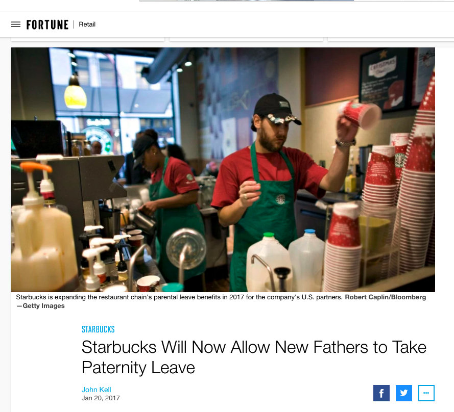 Starbucks will now allow new fathers to take paternity leave (Fortune)