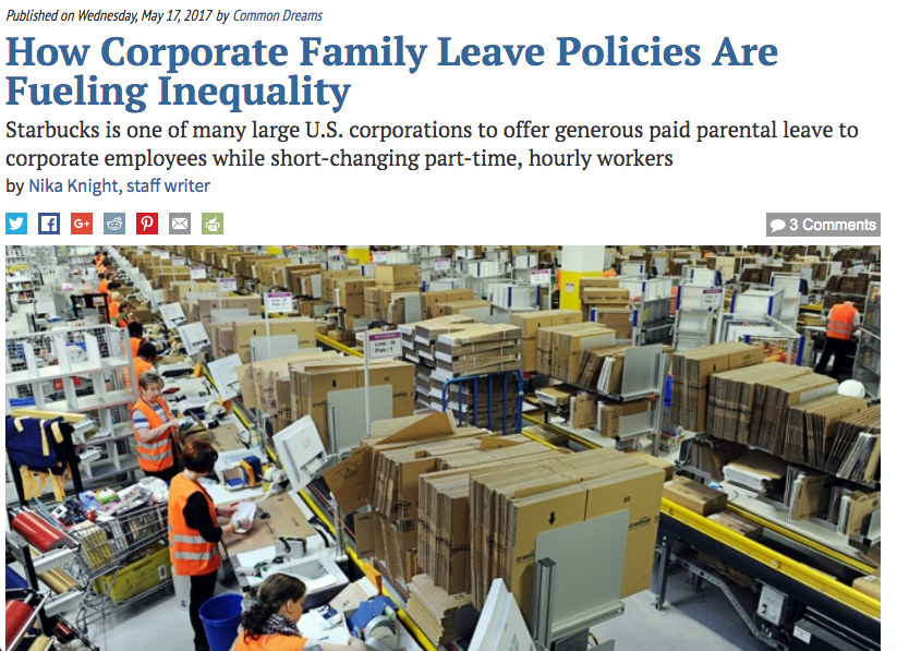 How Corporate Family Leave Policies Are Fueling Inequality (Common Dreams)