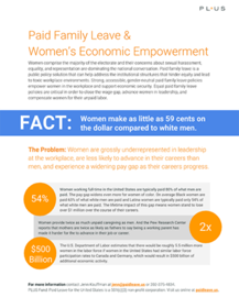 Women's Economic Empowerment and Paid Family Leave - Strong, accessible, gender-neutral paid family leave policies empower women in the workplace and support economic security. Women are grossly underrepresented in leadership at the workplace, are less likely to advance in their careers than men, and experience a widening pay gap as their careers progress.
