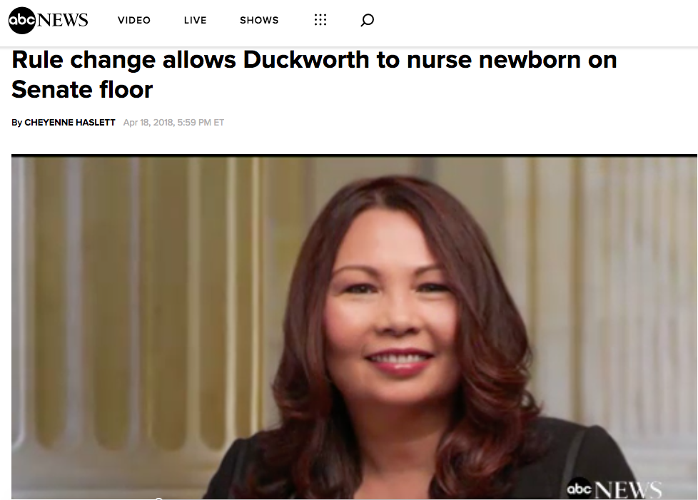 Rule change allows Duckworth to nurse newborn on Senate floor (ABC News)