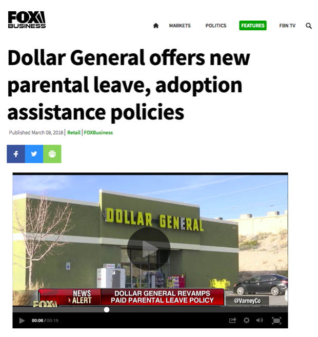 - Dollar General offers new parental leave, adoption assistance policies (Fox Business)