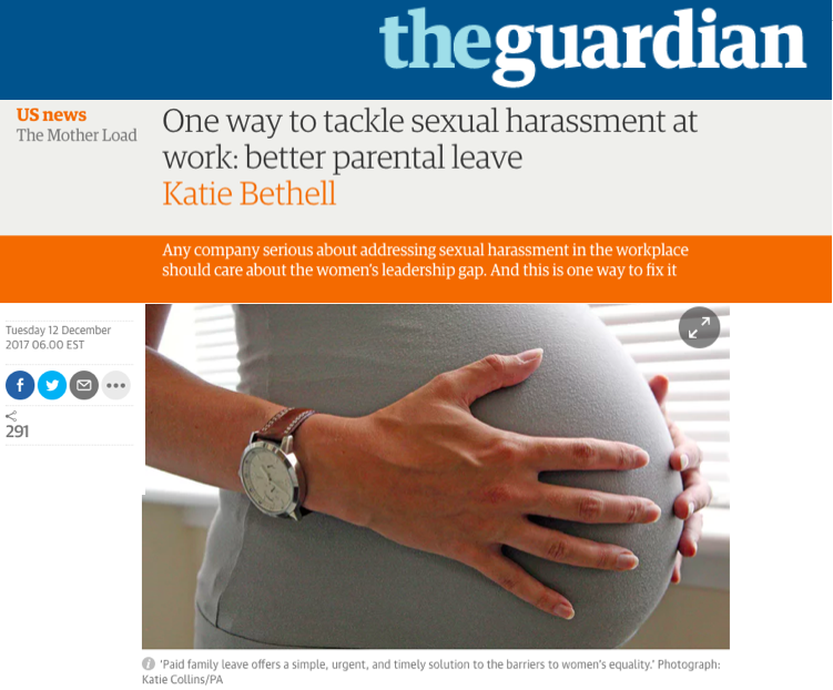 - One way to tackle sexual harrasment at work: better parental leave (The Guardian)