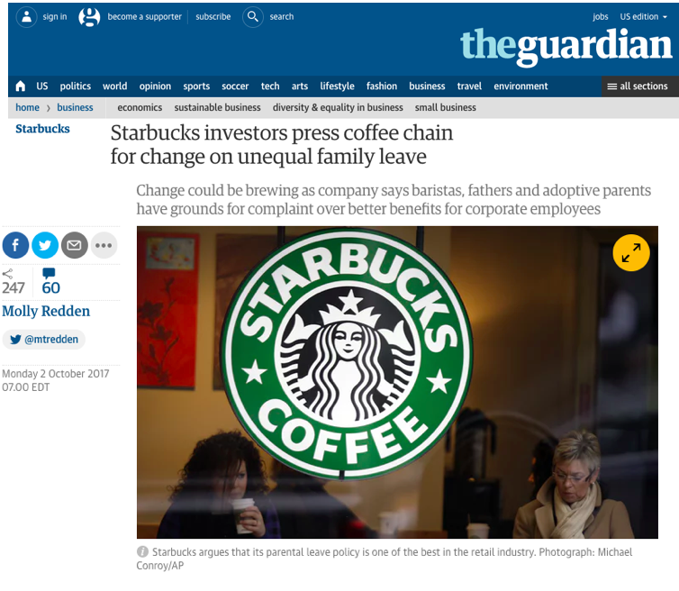 - Starbucks investors press coffee chain for change on unequal family leave (Guardian)