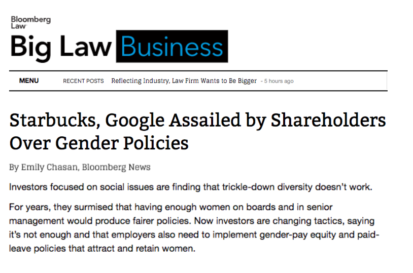 - Starbucks, Google Assailed by Shareholders Over Gender Policies (Big Law Business)