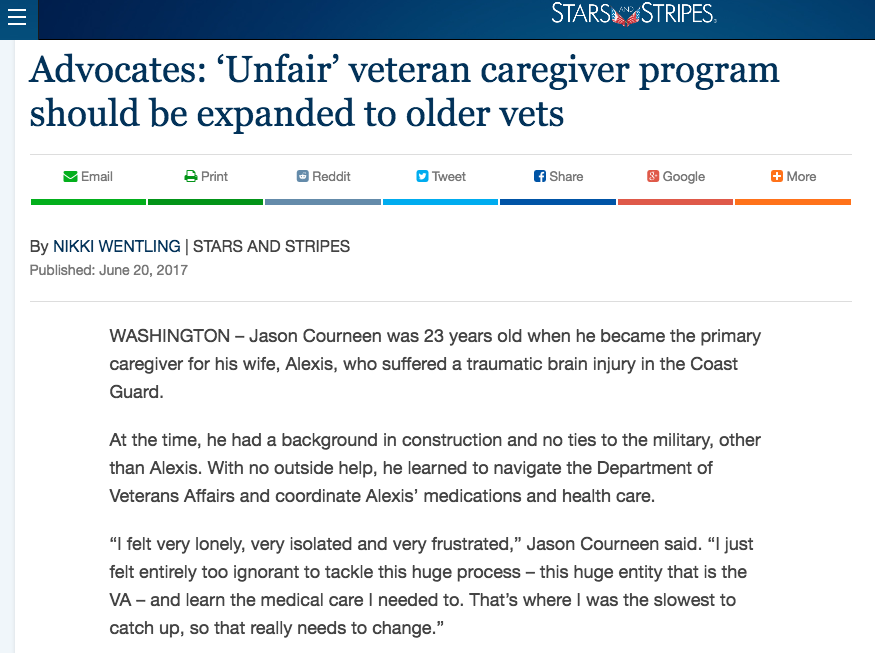 - Advocates: 'Unfair' veteran caregiver program should be expanded to older vets (Stars and Stripes)