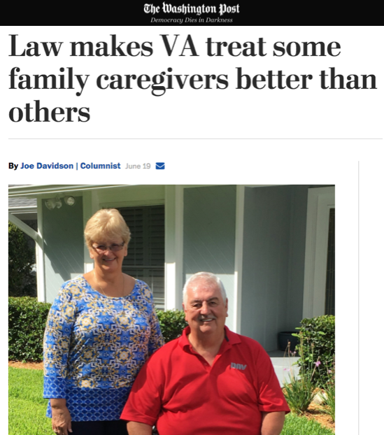 - Law makes VA treat some family caregivers better than others (The Washington Post)