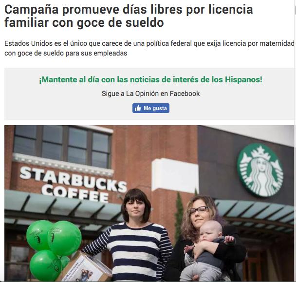 - Campaña promueve días libres por licencia familiar con goce de sueldo (La Opinion)