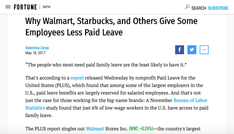 - Why Walmart, Starbucks, and Others Give Some Employees Less Paid Leave (Fortune)