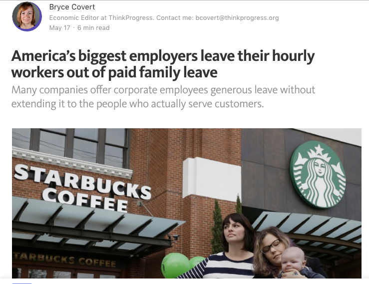 - America's biggest employers leave their hourly workers out of paid family leave (ThinkProgess)