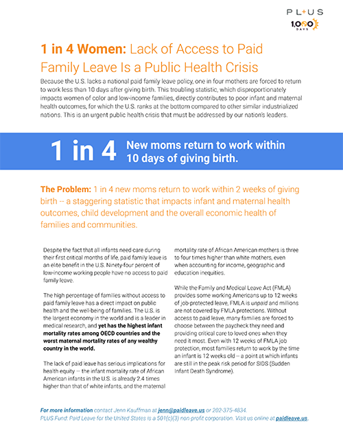 1 in 4 Women: Lack of Access to Paid Family Leave is a Public Health Crisis - One in four mothers are forced to return to work less than 10 days after giving birth. This troubling statistic directly contributes to poor infant and maternal health outcomes, for which the U.S. ranks at the bottom compared to other similar industrialized nations.