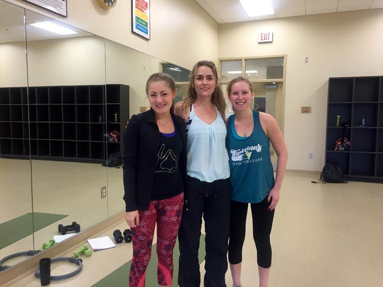 Photo: Brittany Silver (Vanderbilt '18), Jenny (Ballet Sculpt Instructor), Carly Dash (Vanderbilt '18)