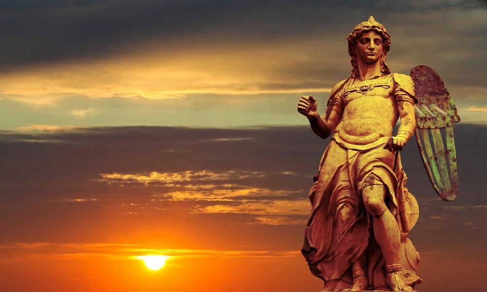 St. Michael - Statue By Raffaello da Montelupo - Sunset Backgrou