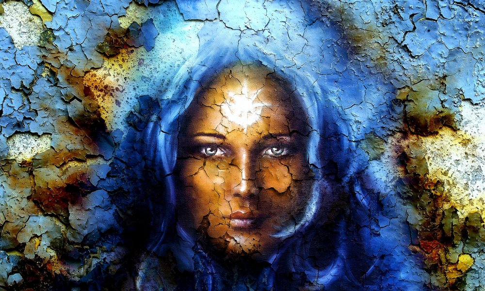 mystic face women, with structure crackle background effect, wit