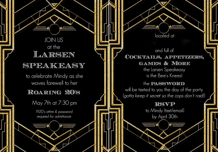 Mindy Larsen 1920s party invite